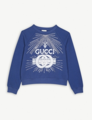 GUCCI Crystal logo cotton sweatshirt 4-10 years