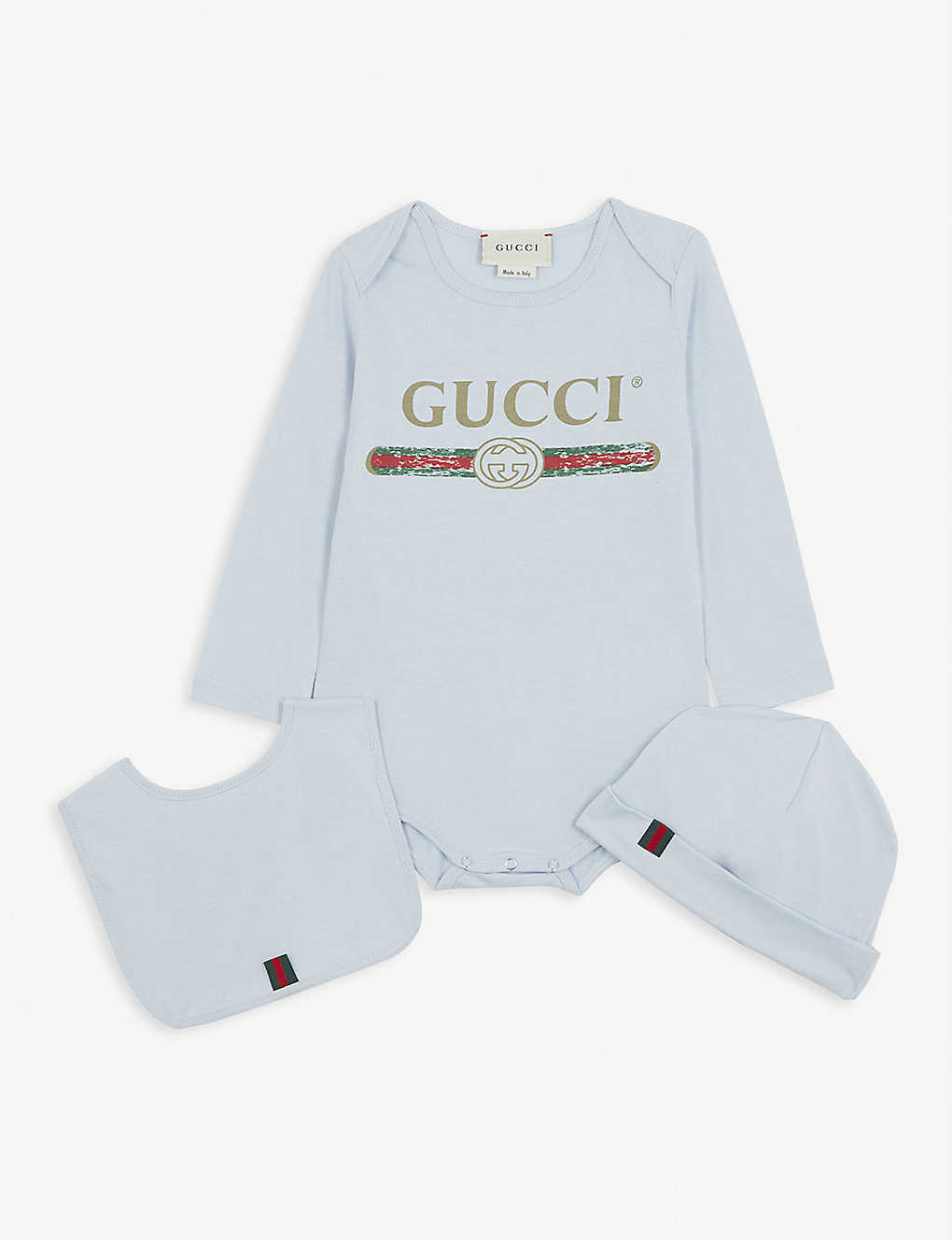 GUCCI: Logo cotton babygrow, hat and bib set