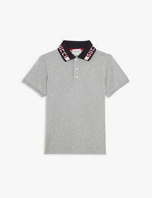 GUCCI Branded collar cotton-blend polo shirt 4-12 years