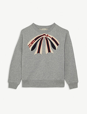 GUCCI Logo bow applique cotton sweatshirt 4-10 years