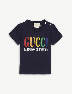 GUCCI Maison logo cotton T-Shirt 6-36 months