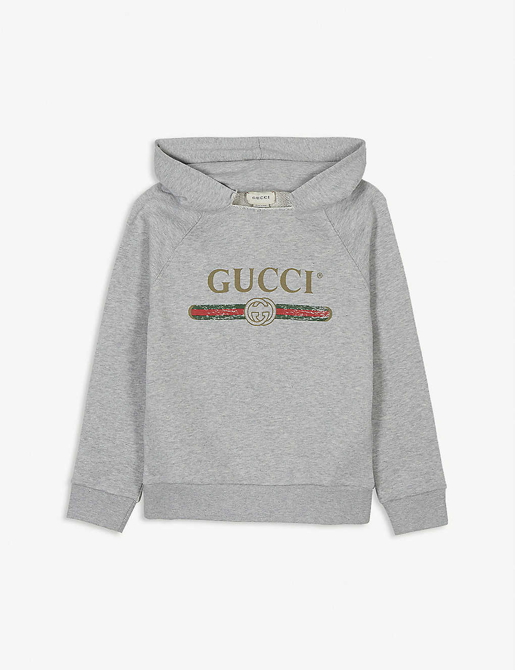 GUCCI: Cotton jersey logo hoody 4-10 years