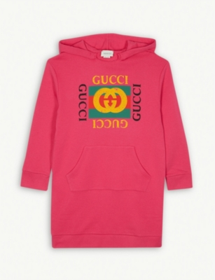 GUCCI Logo print hooded cotton dress 4-10 years