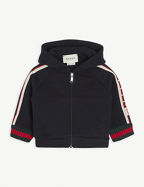 GUCCI: Web striped cotton hoody 3-36 months