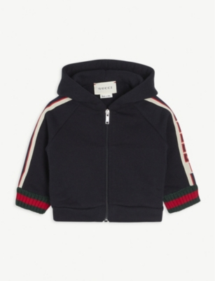 GUCCI Web striped cotton hoody 3-36 months
