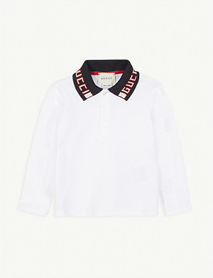 GUCCI Branded collar cotton-blend polo shirt 6-36 months