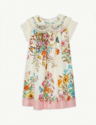 GUCCI Floral print silk dress 10-12 years