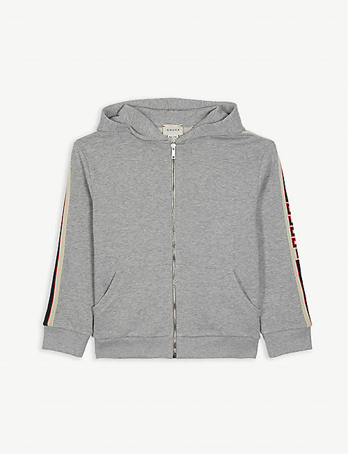 7c19a624533 GUCCI Zip through logo tape hoodie 4-12 years