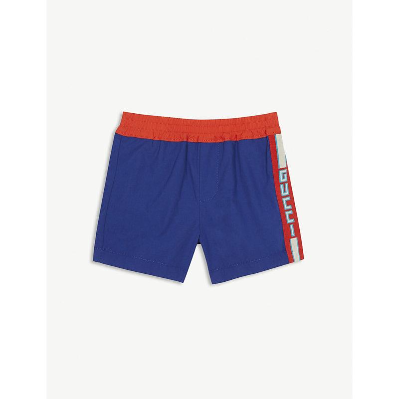 GUCCI   Web Striped Cotton Shorts 6-36 Months   Goxip