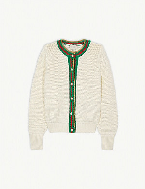 GUCCI Web stripe cardigan 8-12 years
