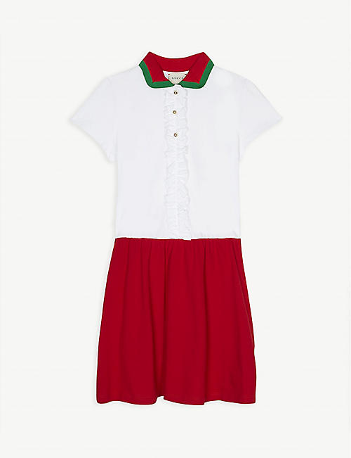 GUCCI Web knitted collar cotton dress 4-12 years