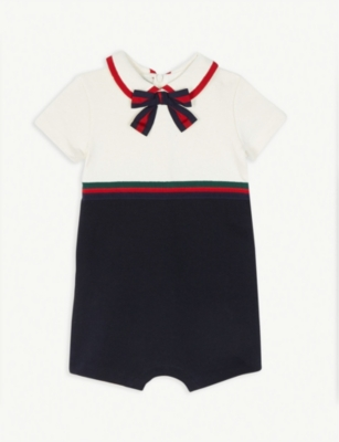 GUCCI Bow cotton shortall 0-18 months