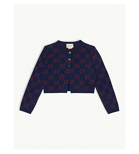 1068d702443 GUCCI GG logo cotton cardigan 4-12 years (Navy