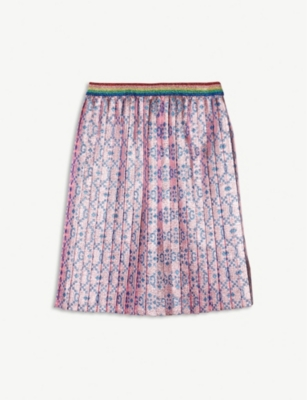 GUCCI Logo metallic pleated lurex skirt 6-12 years