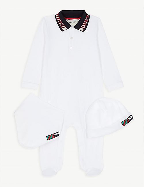 GUCCI Logo three-piece baby set 0-12 months e0d85bf69