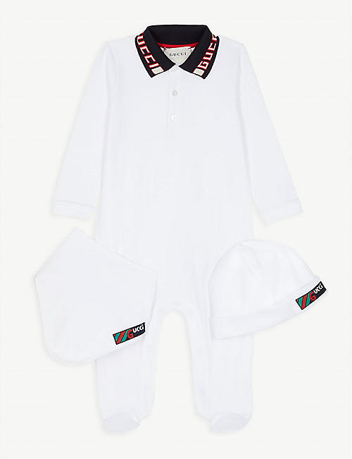 3d03bc92ba8 GUCCI Logo three-piece baby set 0-12 months