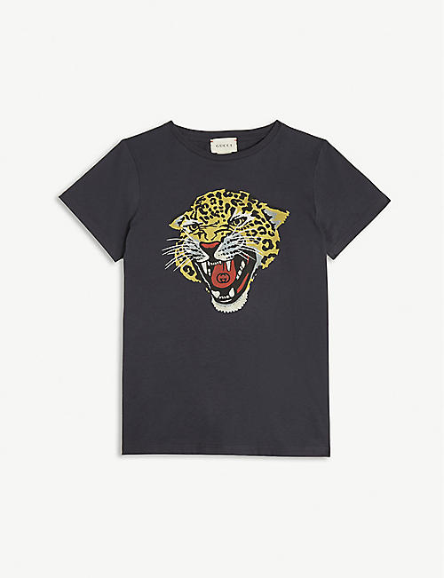 2847154b64af GUCCI Leopard print cotton T-shirt 4-12 years