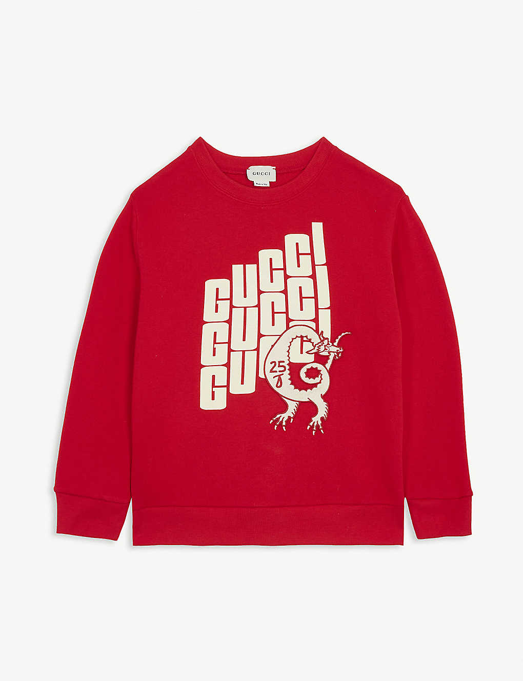 GUCCI: Dragon patch cotton sweatshirt 4-12 years