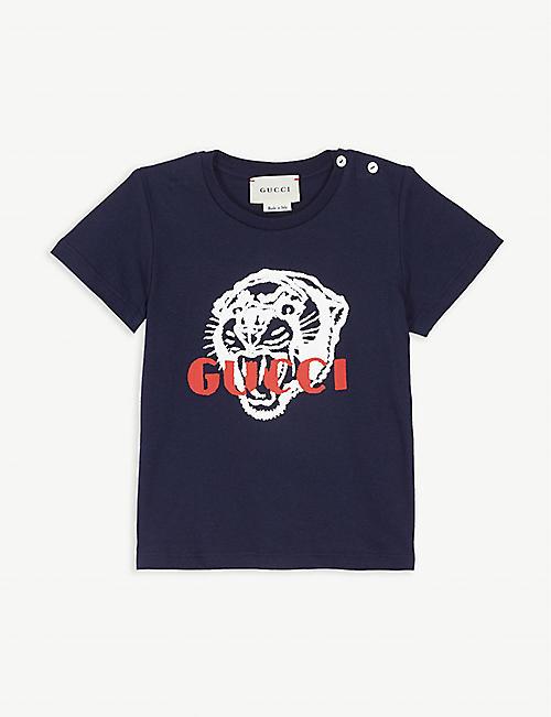 GUCCI Tiger logo cotton T-shirt 3-36 months abf34aa6d