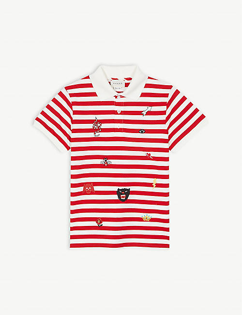 9e8090520d GUCCI Branded embroidery striped cotton polo shirt 4-12 years
