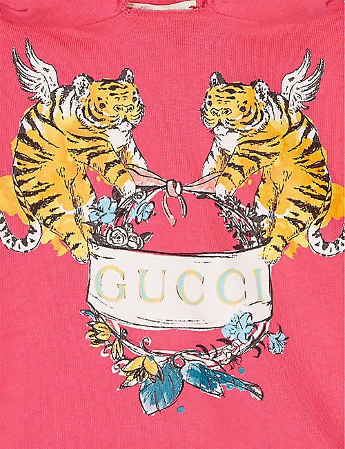 GUCCI Two tigers logo cotton short-sleeved hoody 6-36 months