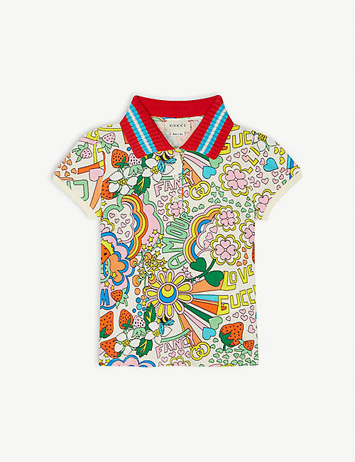 GUCCI Flower rainbow cotton polo dress 4-12 years