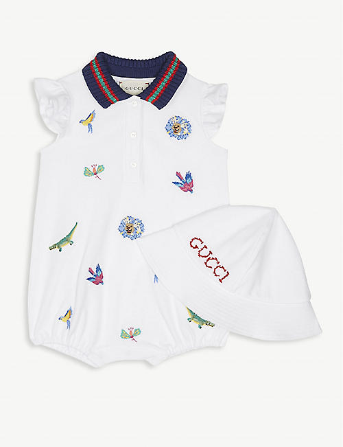 7497f376257 GUCCI Animal embroidery cotton-blend shortall and hat baby set 0-12 months