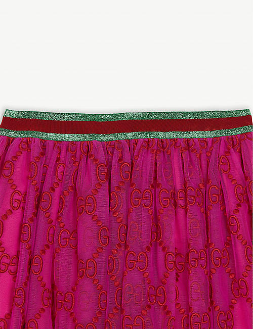 GUCCI Logo tulle pleated lurex skirt 4-12 years