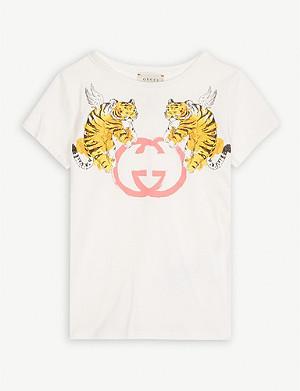 2eca193bb GUCCI - Guccification metallic logo cotton T-shirt 4-12 years ...