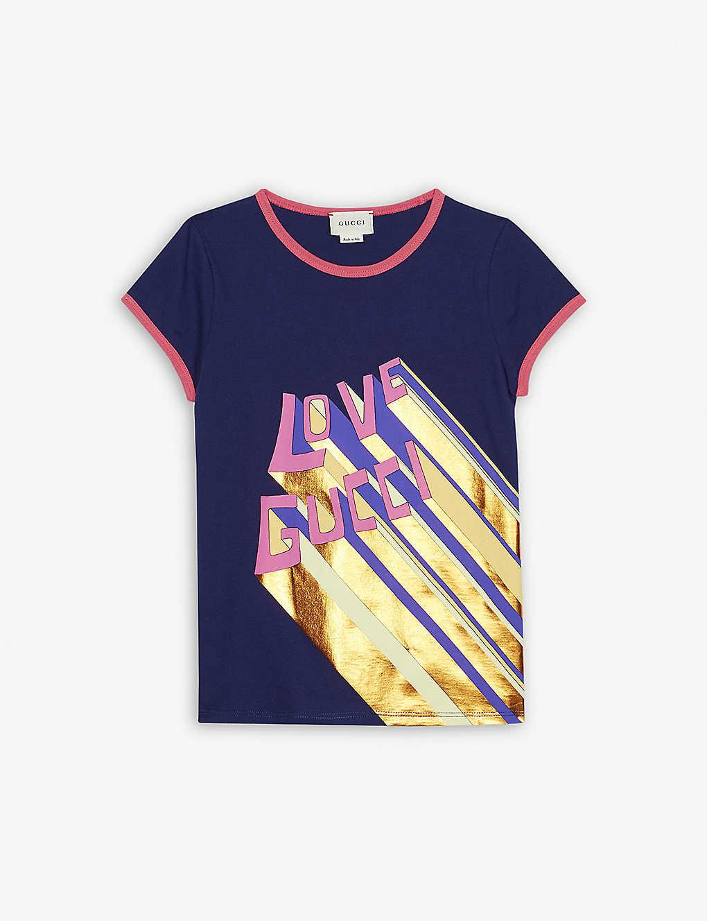 10bc79b1836e Love Gucci metallic print cotton T-shirt 4-12 years - Purple ...
