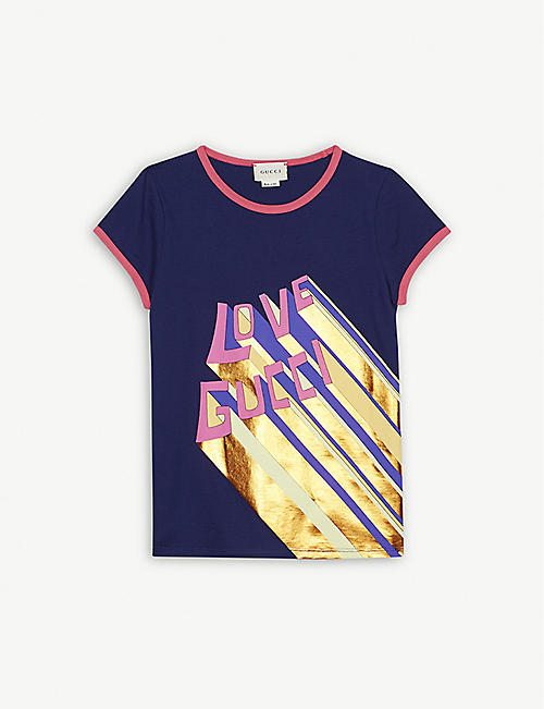 782f1e1e712 GUCCI Love Gucci metallic print cotton T-shirt 4-12 years