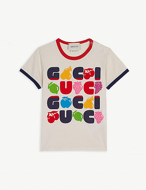 88b426fb38625 GUCCI Fruit logo cotton T-shirt 6-36 months