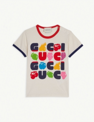 GUCCI Fruit logo cotton T-shirt 6-36 months