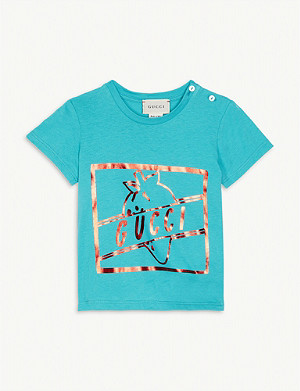 GUCCI Metallic strawberry logo cotton T-shirt 9-12 months
