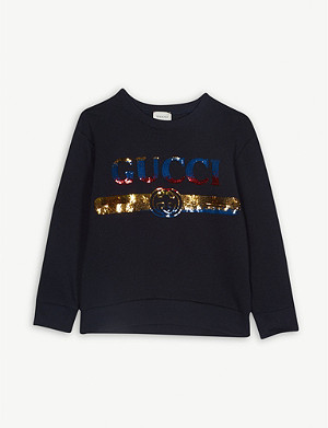 GUCCI Vintage logo sequin cotton sweatshirt 4-10 years