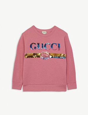 GUCCI Vintage logo sequin cotton sweathsirt 4-10 years