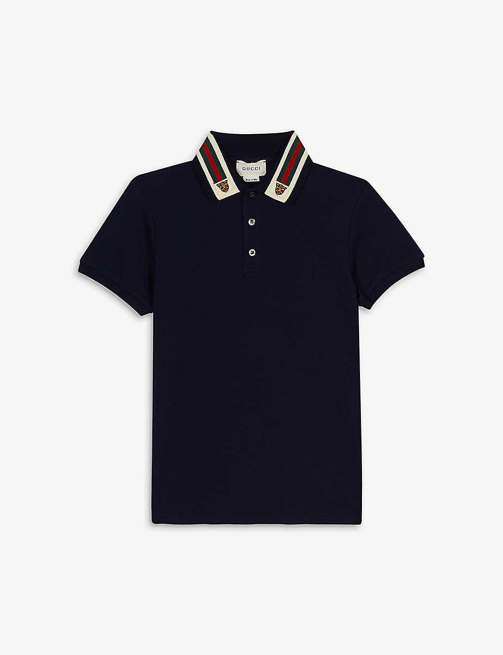 4de3f455e GUCCI - Striped collar cotton-blend polo shirt 4-12 years ...