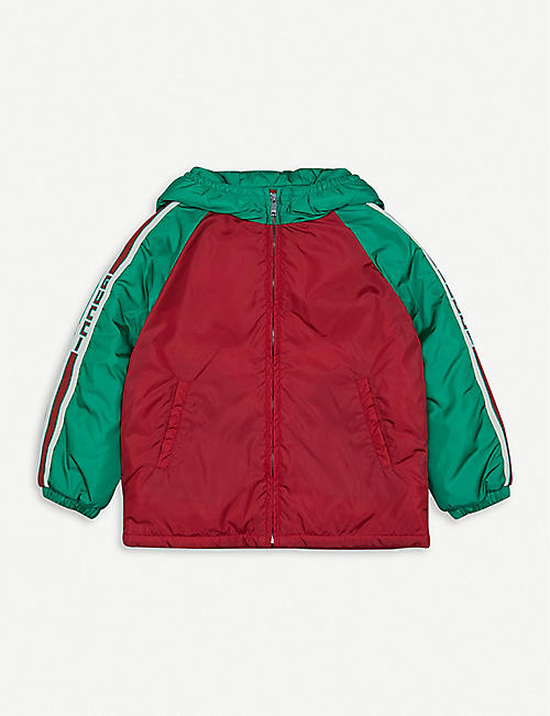 GUCCI Logo-trim padded shell hooded jacket 2-3 years