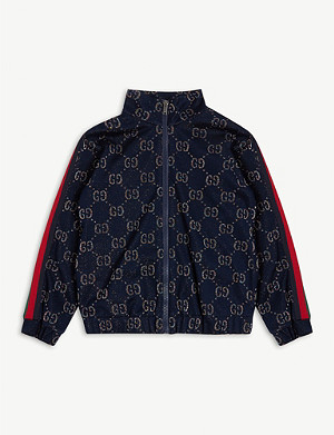 GUCCI Glitter GG pattern cotton-blend tracksuit top 4-12 years