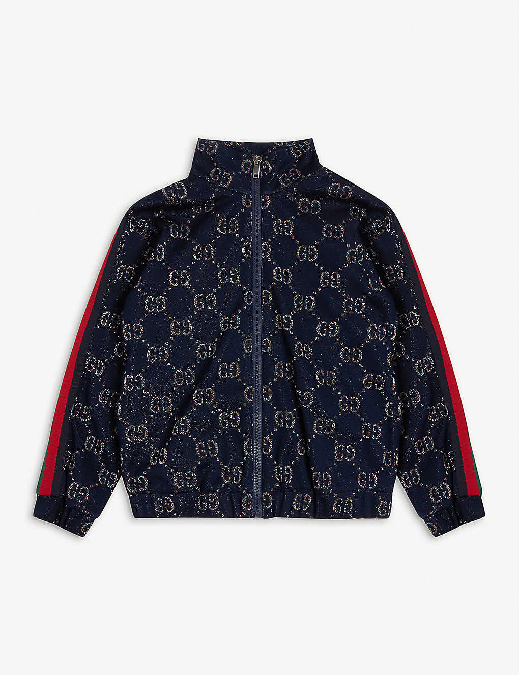 GUCCI: Glitter GG pattern cotton-blend tracksuit top 4-12 years