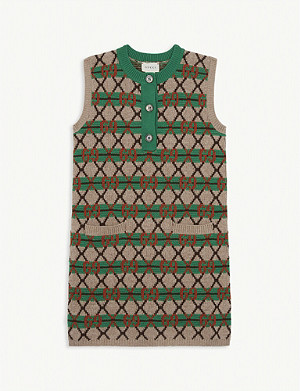 GUCCI GG logo knitted wool dress 4-12 years