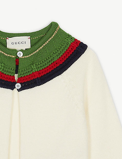 GUCCI Crocheted web striped wool cardigan 12-36 months