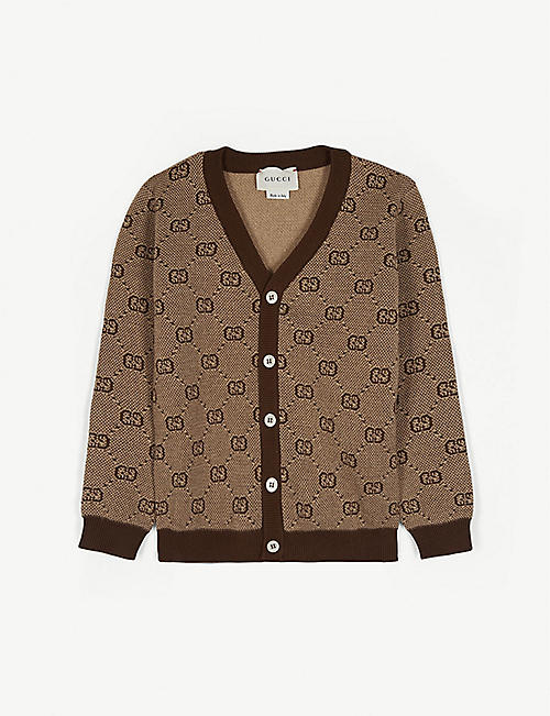 GUCCI Wool and cotton GG web cardigan