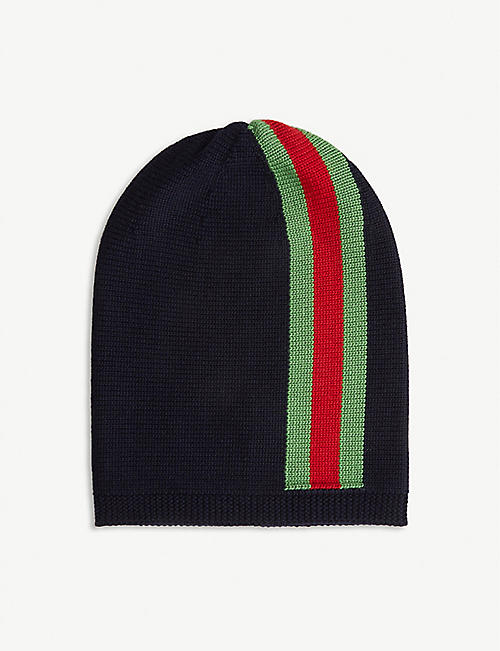 GUCCI: Kids web-stripe knitted beanie 4-14 years