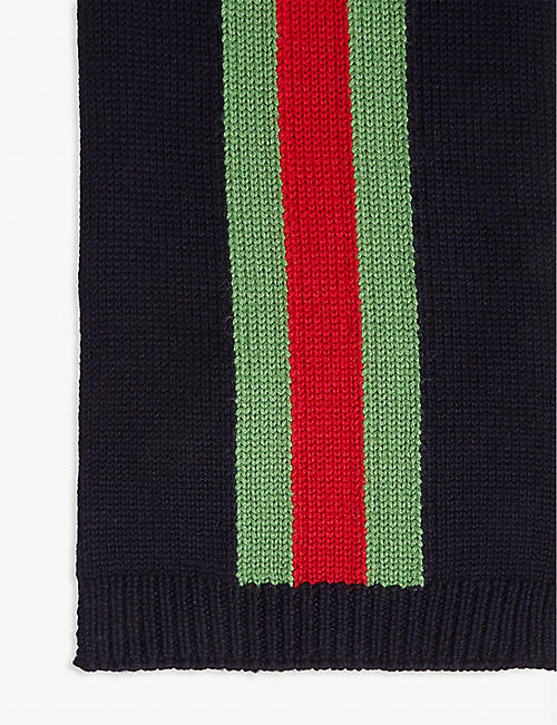 GUCCI Web Stripe wool scarf