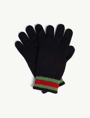 GUCCI Web stripe wool gloves
