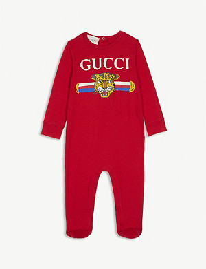 GUCCI Leopard face print cotton all-in-one 0-18 months