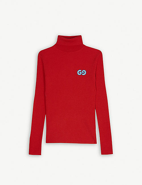 GUCCI Logo rib-knit wool roll neck jumper