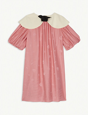 GUCCI Embossed detailing satin jacquard dress 4-12 years
