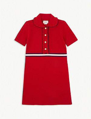 GUCCI Web striped ruffled wool dress 4-12 years